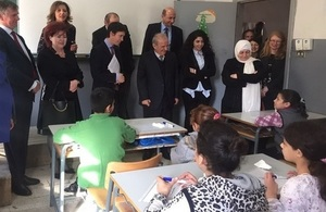 Minister Rory Stewart visiting a public school in Beirut