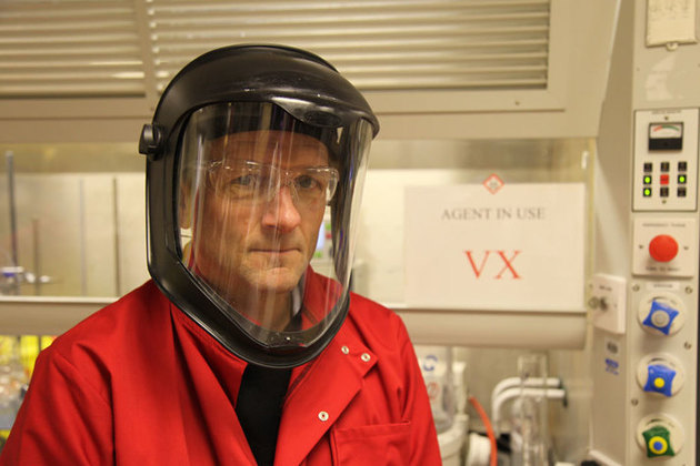 Dr Michael Mosley inside Porton Down science facility