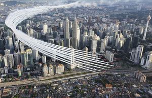 The Red Arrows flying over Kuala Lumpur, Malaysia
