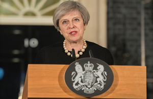 Prime Minister Theresa May gave a statement in Downing Street this evening following today's attack in Westminster.