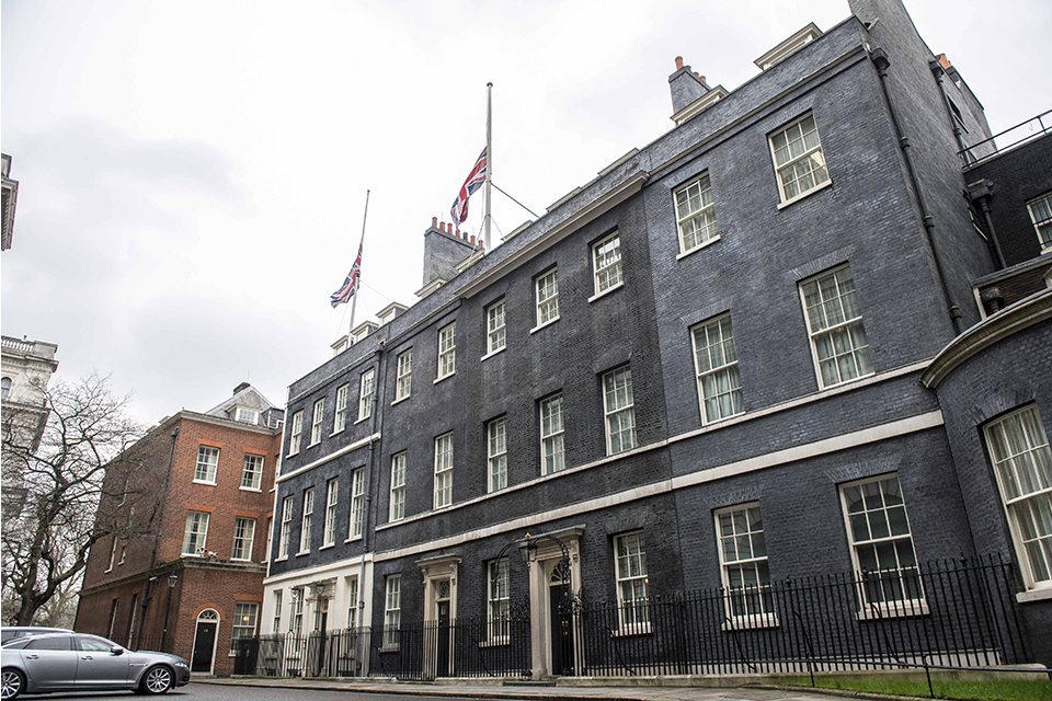10 Downing Street with flags at half mast.