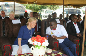 HRH The Countess of Wessex interacts with the Minister of Health, Hon Peter Kumpalume