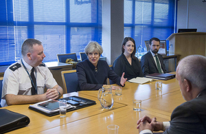 Prime Minister Theresa May speaking with Police Scotland about counter-terrorism