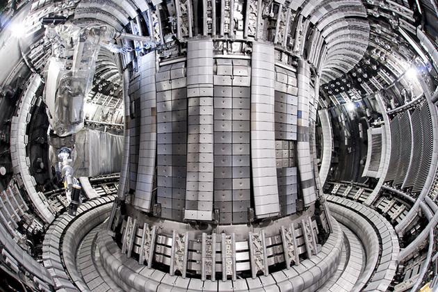 Inside JET - currently the world's largest fusion device