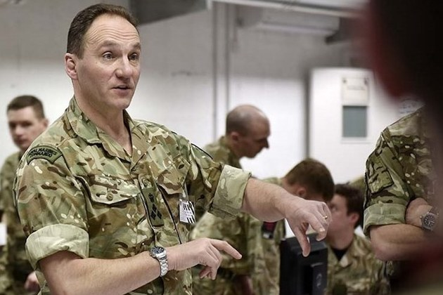 Brigadier Stickland briefing personnel during the exercise. Crown Copyright. Photo: Lee Goddard. All rights reserved