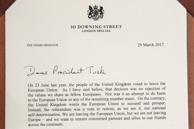 First page of the Prime Minister's letter