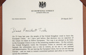 Article 50 letter from the PM to Donald Tusk