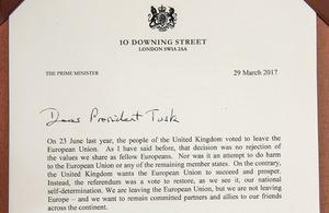 Prime Minister's letter