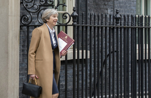 Prime Minister Theresa May leaving 10 Downing Street to go to the House of Commons