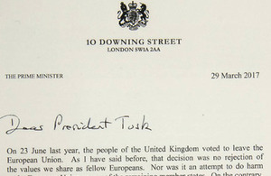 Prime Minister's letter to Donald tusk triggering Article 50