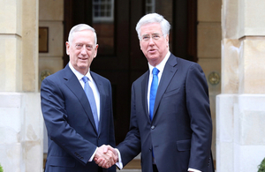 Defence Secretary Sir Michael Fallon welcomes US Secretary of Defense Jim Mattis to London