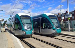 Library image of trams at David Lane tram stop