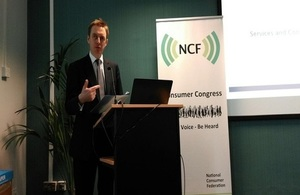 Lord Bridges speaking at the NCF Consumer Congress