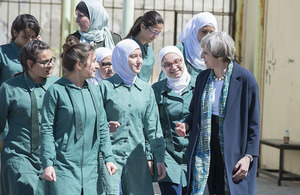 Prime Minister speaking with pupils at Alzahra School in Jordan.