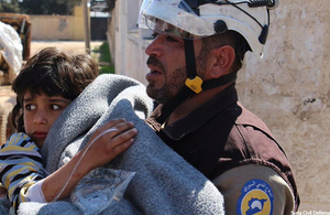Civil defence worker in Idlib, Syria. Picture: Syrian Civil Defence.