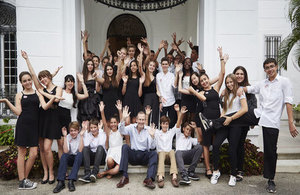 Ambassador Antony Stokes with students of the British School of Costa Rica and the International School of Havana