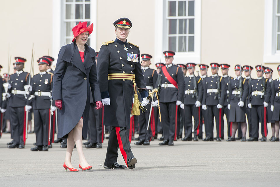 Prime Minister Theresa May inspecting the new officer cadets at the Sovereign's Parade at Sandhurst.