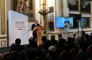 Liam Fox speaking at the UK-GCC PPP Conference in London.