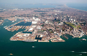 Aerial view of HMNB Portsmouth (photographer Paul A'Barrow).