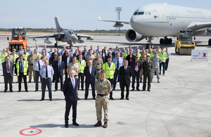 Commander British Forces Cyprus Major General James Illingworth and DIO Chief Executive Graham Dalton pose with personnel from Lagan Iavoucou. All rights reserved