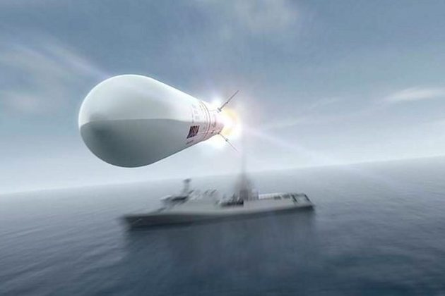 CAMM in flight away from a Sea Ceptor armed ship. Image courtesy of MBDA Systems.