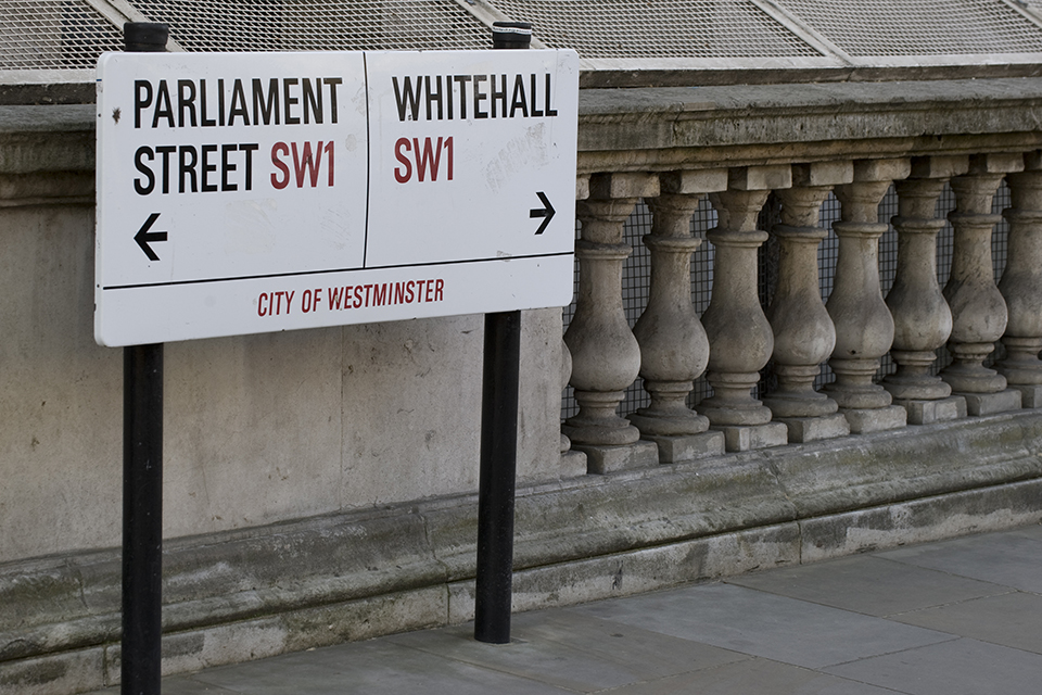 Parliament and Whitehall road sign.