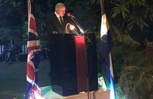 British High Commissioner, Mr Guy Warrington making a statement during the Queen's Birhtday Party (on Thursday 20 April)