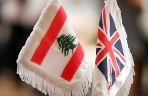 UK and Lebanon flags