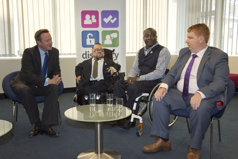 David Cameron meets fellow attendees of the Disability Employment Conference. Crown copyright.