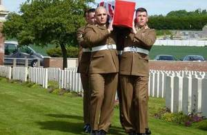 The bearer party carrying the coffin of Private Parker, Crown Copyright, All rights reserved