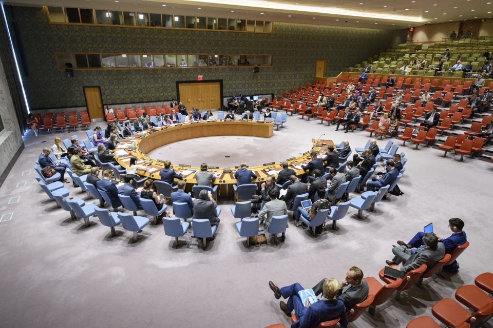 A wide view of the Security Council meeting on the situation in Bosnia and Herzegovina.