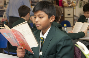Boy pupil reading