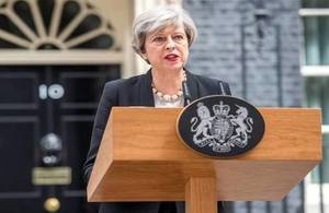 Prime Minister Theresa May gave a statement in Downing Street following the terrorist attack in Manchester.