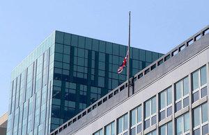 Union flag at half-mast