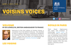 Voisins Voices, the British Embassy's first newsletter for British expats in France