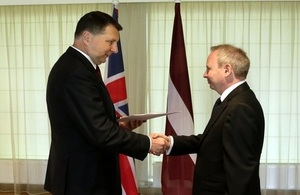 Keith Shannon presenting credentials to President of Latvia