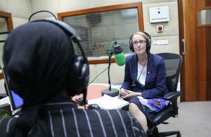 HE Sarah Cooke being interviewed at BBC Tanzania