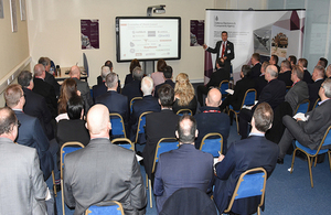 Dickie Davies, Deputy Director Welsh Government presents to the Aerospace Wales members forum © DECA