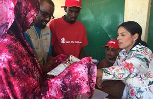 International Development Secretary Priti Patel helps distribute UK aid in Ethiopia, 16 June 2017. Picture: Reuters/Kumerra Gemechu