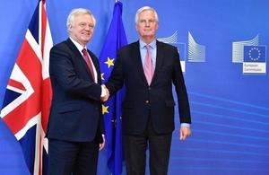 David Davis with Michel Barnier