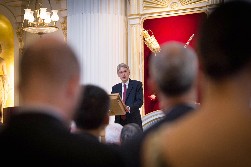 The Chancellor Philip Hammond speaking at Mansion House