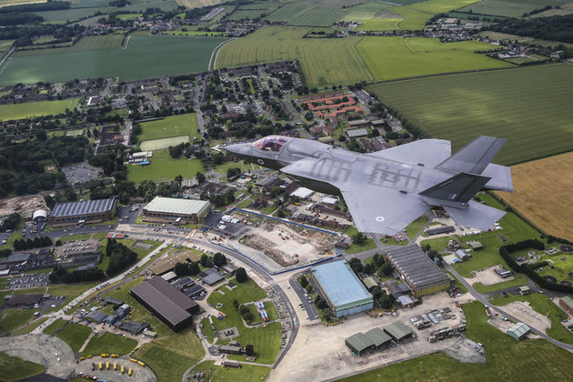 RAF F-35 flying over RAF Marham