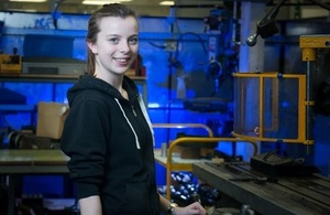 Verity, a second year Mechanical Engineering Apprentice at Dstl.