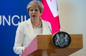 UK Prime Minister Theresa May at June 2017 European Council Meeting