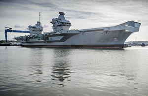 HMS Queen Elizabeth departed Rosyth for her maiden sea voyage today. Crown Copyright
