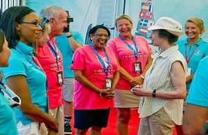 HRH The Princess Royal meets with local volunteers at the Americas Cup Village