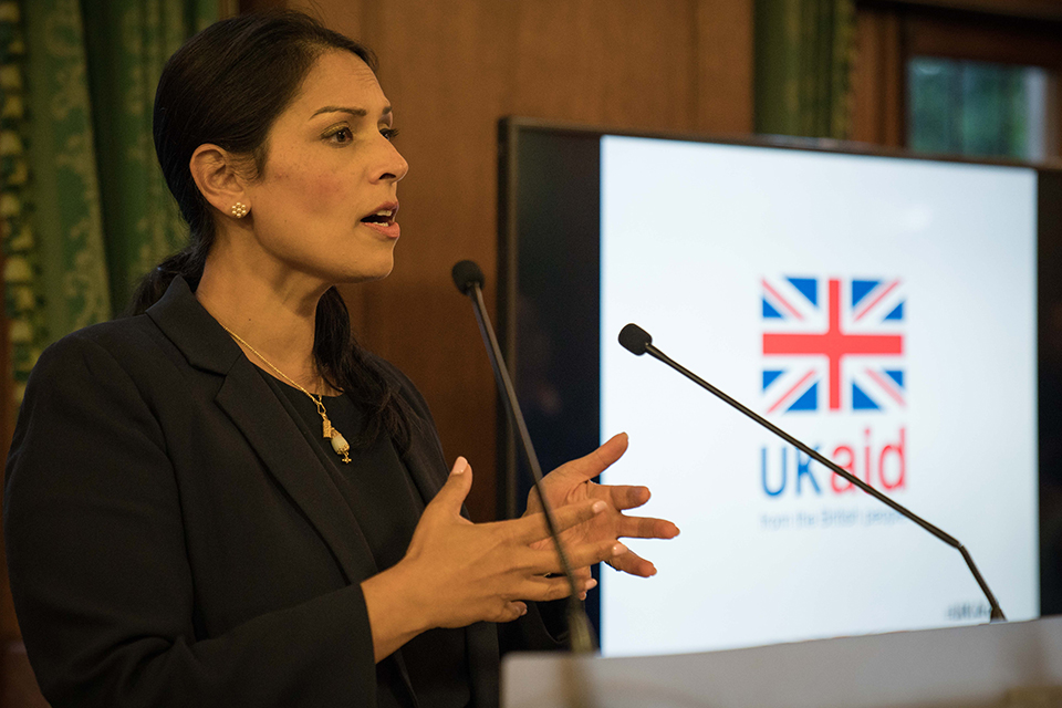Priti Patel speaking at Church House, Westminster. Picture: Sam Jones/WaterAid