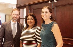 HMA Dr. Ian Collard, Farah Urrutia, Deputy Vice Minister of Foreign Affairs and DHM Alison Cross