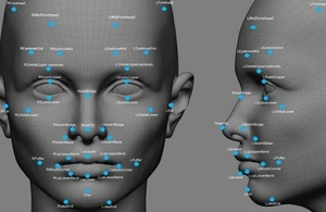 Facial recognition data points technology