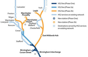 Map of HS2 Phase 2a and Phase 2b.